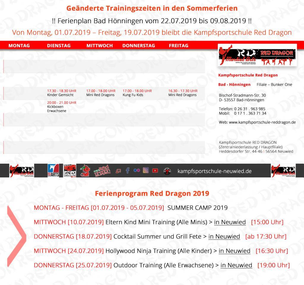 Trainingsplan - KSS Bad Hönningen RED DRAGON Sommerzeit 2019