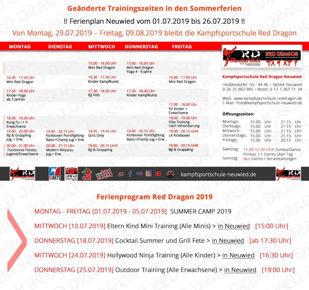 Trainingsplan - KSS Neuwied RED DRAGON Sommerzeit 2019